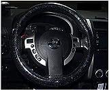 SSLL Strass Auto Lenkradbezug,Universal PU-Leder Diamant Vier Jahreszeiten Steering Abdeckung Wrap Glänzend Strass Autolenkradabdeckung Für Mädchen-Frauen,38CM 15