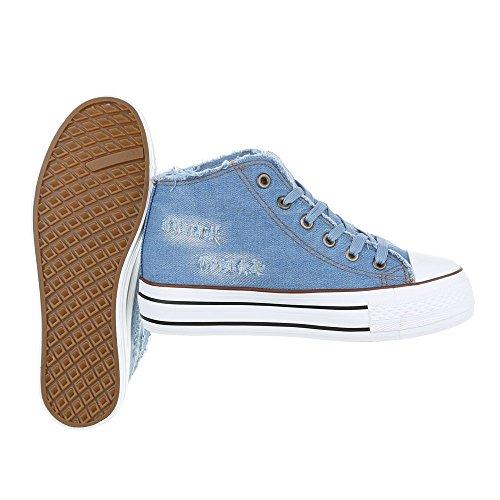Sneaker Ital-design Sneaker Da Donna Scarpe Da Ginnastica Alte Stringate Blu Scarpe Casual