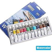Set de Pintura de Acuarela de 12 Colores, pigmentos de Graffiti Pinturas de Tubo de Aluminio de 12 ml para Principiantes, Soluble en Agua, no tóxico - Pintura de Acuarela