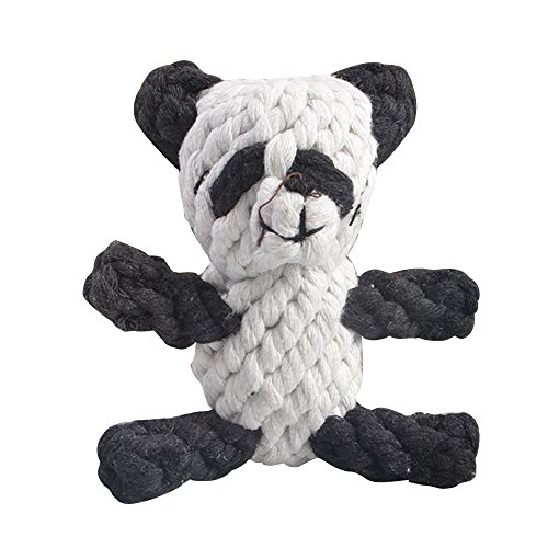 Eizur Pet Dog Puppy Chew Toy Cotton Squeak Toys Woven Panda Shape Molar Toy Doggy Teeth Cleaner Interactive Doll Training Tool