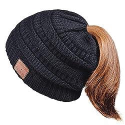 HANPURE Bluetooth Mütze Damen Mütze mit Zopfloch, Beanie mit Bluetooth 5.0, Geschenk für Frauen, Bluetooth Kopfhörer Beanie, Winter Strickmütze für Skifahren, Laufen, Skaten&Spazierengehen