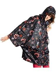 Reisenthel mini maxi Poncho, Chaqueta impermeable, a prueba de agua, capa, poncho, plegable, un tamaño, folclore negro / negro con flores de fantasía, AN7014