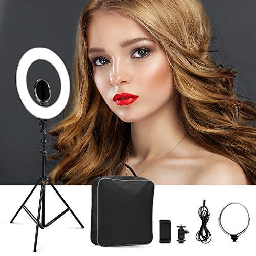"CRAPHY Ringlicht, 18\"" 48W dimmbare Ringleuchte mit 432 LEDs, 3200k-5500k LED Ringlicht Set mit Zubehörschuh, Lampenstativ und Netzkabel, Bi Color LED Ringleuchte für Selfie, Make-up, Live Streaming, Portraitfotografie, Videoaufnahme"