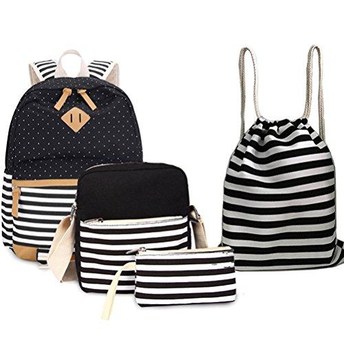 4 Teile Set Causal Rucksack Freizeitrucksack Daypacks Backpack, Rucksack Schule/Schulranzen +Kühltasche +Geldbeutel Mäppchen + Leinwand Kordelzug Turnbeutel (schwarz-08) -