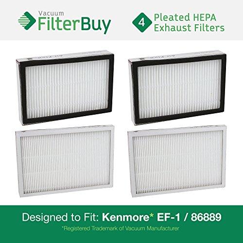 4–Kenmore EF-86889Auspuff Vakuum HEPA Filter. Entworfen von filterbuy zu ersetzen Sears Kenmore Teil # 20–86889(86889), 40324, EF1. Ersetzt auch Panasonic mc-v199h.