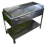 Modulgrill-Holzkohlegrill115 cm breit mit Windschutz und geteiltem Rost höheverstellbarem Glutfach