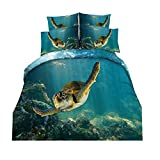 2 Stück Bettwäsche Sets Mikrofaser Polyester 135 x 200cm 1 Person Bettbezug Set mit Reißverschluss (Schwimmen Schildkröte, 135 x 200cm)