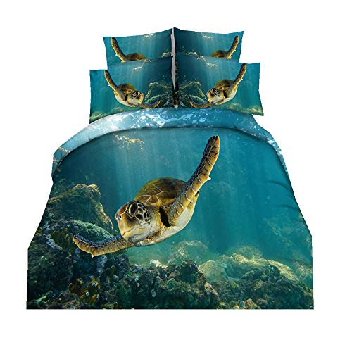 Sticker superb 3D Schildkröte Tier Bettwäsche Sets Mikrofaser Polyester 2 Personen 200 x 200cm Bettbezug Set mit Reißverschluss (Schwimmen Schildkröte, 200 x 200cm) -
