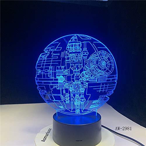 Fans Regalos Estrella De La Muerte Darth Vader Maestro Yoda Jedi Líder 7 Colores Gradiente 3D Lámpara Led Luz Nocturna Regalos