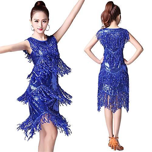 Cvbndfe Tanzkleid für Frauen Frauen Dancewear Pailletten Fransen Quasten Rhythm Salsa Ballsaal Samba Tango Latin Dance Dress Wettbewerb Kostüme Swing Rumba Dress elegant (Farbe : Blau, Größe : ()