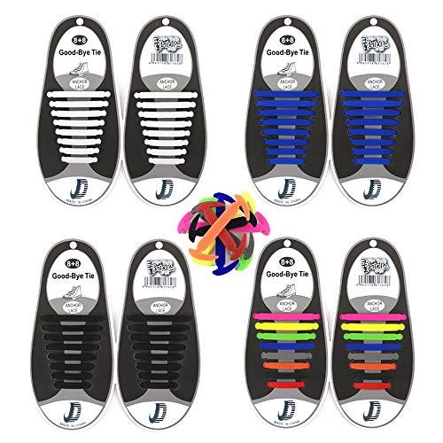 Elastisches Schnürsenkel Wasserdicht für Kinder, No Tie Silicone Schnürsenkel Schuhband für Erwachsene Sport Sneaker und Freizeitschuhe, 4 Paar (Blau + Multi-Farbe + Weiß + Schwarz)