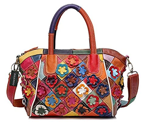 Greeniris Womens Genuine Leather Handbags Colorful Plaid Crossbody Handbags for Women Floral Hobo Shoulder Totes Bags Multicolor
