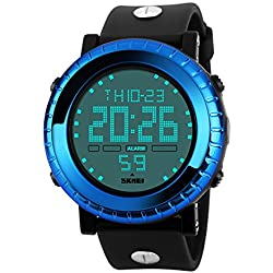 BesWLZ Men's Watches Digital Waterproof LED Sport Big Face Watch Casual Military Back Light Business Watches for Men Simple Design 50M Waterproof Watch Blue