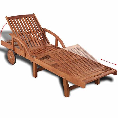 Nishore, Sonnenliege Ausgestattet mit 2 Rädern Rückenlehne Fußstütze Verstellbar 200 x 68 x 83 cm Massivholz Akazie Holzliege Gartenliege (Auf Pool-tisch Rädern)