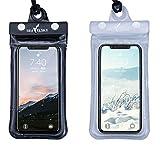iSuperb Wasserdichte Handyhülle Tasche Beuteltasche Wasserfeste Hülle mit Schlüsselband für iPhone X 8 7S Samsung (Schwarz und Transparent)