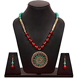 Sitashi Ethnic Wear Rajasthani Hand Work and Beads Fashion Jewellery Floral Design Pendant Necklace Set For Girls and Women