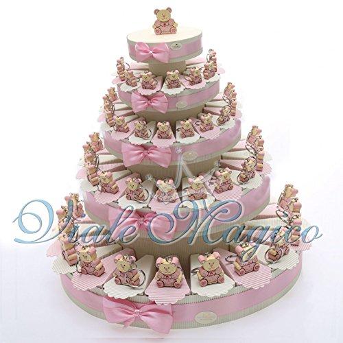Torta bomboniere battesimo nascita bimba segnaposto 90 pezzi porta confetti con portachiave orsetto in offerta spedizione gratuita
