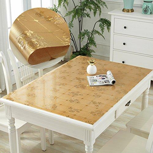 HM&DX PVC Kunststoff klar Tischdecken Wasserdicht Ölfreie Abwaschbar Tabelle cover tuch protektor Schreibunterlage Für küche kaffee esstische-gold 90x140cm(35x55inch)