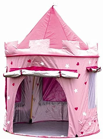 Kinderspielzelt zum Aufstellen in Form einer Burg (zur Verwendung drinnen oder draußen) für Mädchen Pink/