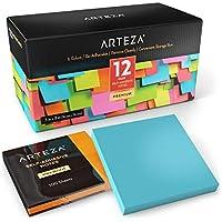 ARTEZA Notas adhesivas 76 mm x 76 mm | 12 tacos de 100 hojas | Paquete de posits de colores surtidos | Reutilizables sin dejar marca | Ideales para la oficina y el hogar