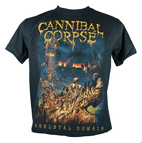 Cannibal Corpse-Maglietta da uomo nero a Domain scheletrico Large Size L