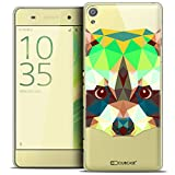 Caseink - Coque Housse Etui pour Sony Xperia XA [Crystal HD Polygon Series Animal - Rigide - Ultra Fin - Imprimé en France] - Raton Laveur
