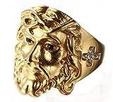 Sumouzh Jahrgang Diamant Religiös Christian Heilig Kreuz Jesus Gesicht Rostfreier Stahl Ringe Für Herren,Gold,Größe 72 (22.9)