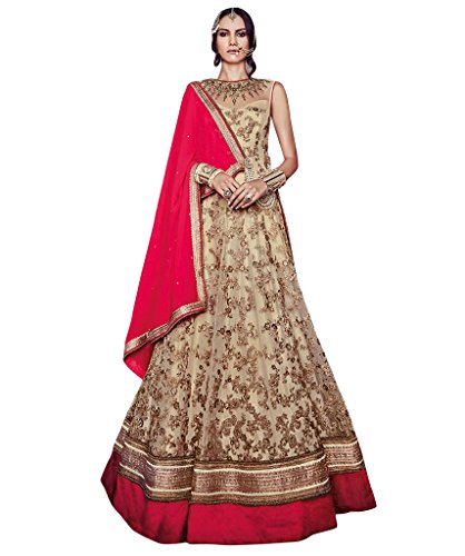 Sancom Women\'s Beige Net Embroidery & Lace Work Semi Stitched Anarkali - 70775
