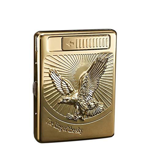 Pitillera de metal - Vintage Eagles Carving Caja de cigarrillos con mechero eléctrico (mantenga 20 unidades de cigarrillos)