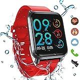 HopoFit HF02 Fitness Tracker HR,Smartwatch con contador de Calorías,Podómetro,Rastreador de actividad de camuflaje con monitor de ritmo cardíaco y sueño,IP68 W/P,Hombres,Mujeres,iPhone y Android (red)