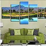 hjcmhjc (Pas De Cadre) Décor À La Maison HD Prints Toile Mur Art Affiches 5 Pièces Montagne Parcours De Golf Peintures Salon Lac Arbres Photos...