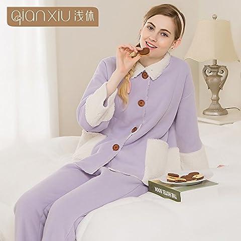La sig.ra Giacca invernale privo di pelucchi e pigiami kit 9 bracciale allentato-thick - homewear ,viola,m-YU&XIN