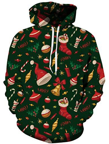 Ocean Plus Herren Kapuzenpullover Lebensecht 3D Grafik Hoodie mit Kängurutasche Pullover mit Kapuze Sweat Hood (S/M (Brustumfang: 112-132CM), Weihnachten)