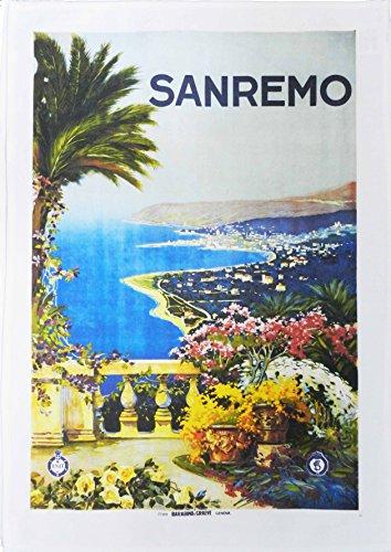 San Remo - Vintage Style Travel Poster Large Cotton Tea Towel Vintage Tea Towel