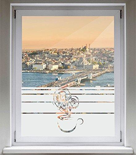 INDIGOS UG Sichtschutzfolie Glasdekorfolie Fensterfolie mit Motiv satiniert blickdicht - E240 Schönen Kaffee Dampf - 1200 mm Länge - 500 mm Höhe Streifen (Dampf-streifen)