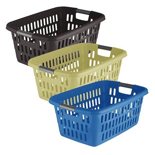 axentia Wäschekorb Plastik, stapelbar - Wäschesammler eckig - Wäschewanne Kunststoff fürs Bad - Wäschekiste in Grün, Lila & verschiedenen Farben - Wäschetragekorb 60 l