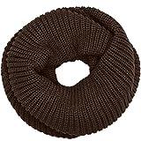 CASPAR Unisex unifarbener Vintage Grob Strick Loop/Schal / Schlauchschal PREMIUM QUALITÄT - viele Farben - SC403, Farbe:dunkelbraun;Größe:One Size