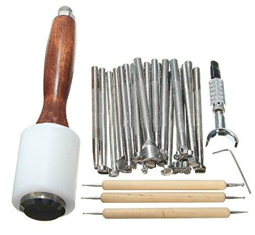 lzndeal 25Pcs/Set DIY Herramientas de cuero talladas de impresión de