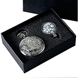 DR WHO Themed Polished Silver Finish Retro/Vintage Case Full Hunter Mens/Boys Quartz Pocket Watch Necklace Set - With White Gallifrey Timelord Seal Pendant
