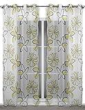 Leichter Ösenschal 135x245 cm (Farbe wählbar) transparente Gardine Blumenmotiv, Costa (Gelb)