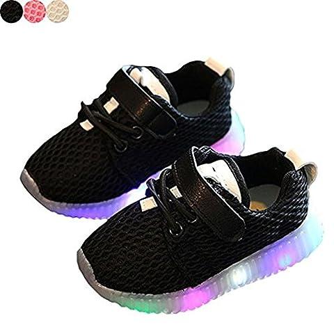 Chaussures LED enfants chaussures légères stillshine - Garçon filles clignotant Sport Running Sneakers Baby Shoes Halloween cadeau de Noël (25, Noir)