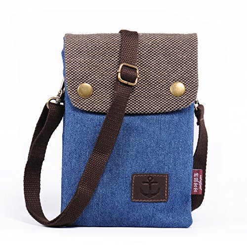 Hengying Canvas Universal Kleine Handy Tasche Umhängetasche für iPhone 6 Plus 6S Plus 7 Plus Galaxy Note 5 4 3 S7 Edge S6 Edge Plus Lumia 650 950 XL Sony Wiko LG Damen Mädchen Kinder (Blau)