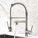 GD Wasserhahn Küche Gebürstetes Nickel Mischbatterien fuer Kueche Gastro Armatur Einhandmischer für Küchen Spüle
