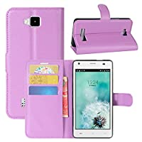 Cubot Echo Case, HualuBro [All Around Protection] Premium PU Leather Wallet Flip Phone Protective Case Cover with Card Slots for Cubot Echo Smartphone (Purple)