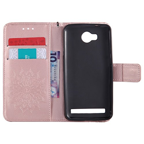 Für Huawei Y3 II Fall, Prägen Sonnenblume Magnetische Muster Premium Soft PU Leder Brieftasche Stand Case Cover mit Lanyard & Halter & Card Slots ( Color : Brown ) Rose Gold