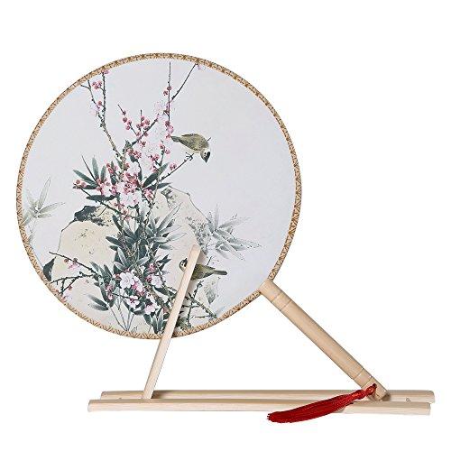 ArtiDeco Rund Fächer Blumen Chinesische Tang Dynastie Stil Handfächer mit Sockel Tanzball Accessoires Damen Kostüm Zubehör (Stil 1)