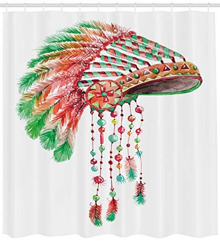 Abakuhaus Feder Duschvorhang, Tribal Chief Kostüm, mit 12 Ringe Set Wasserdicht Stielvoll Modern Farbfest und Schimmel Resistent, 175x220 cm, Zinnoberrot Orange - Billige Schüler Kostüm