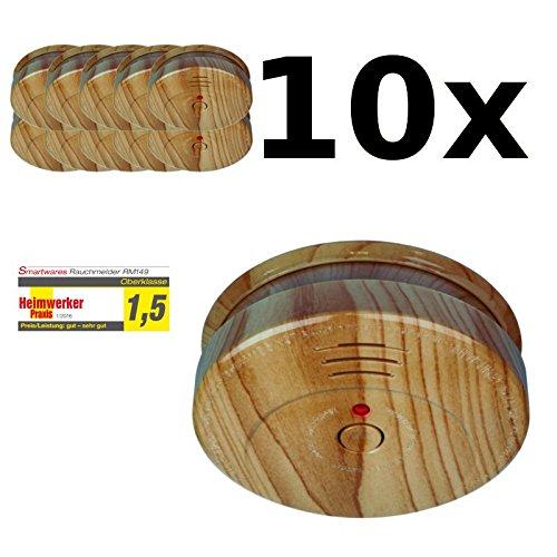 10er Set Rauchmelder Smartwares RM149H Feuermelder, Brandmelder in Holzoptik