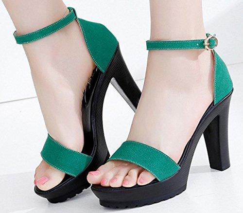 HYLM Sandali con tacco alto Cintura con fibbia Grande cachemire esposto ai piedi semplici sandali con tacco alto Scarpe da lavoro partito Green