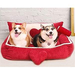 FVCDWSA Luxus-Cord-Gewebe-Quadrat-Zwinger-Hundebett-Haustier-Bett-Haustier-Versorgungsmaterialien Entfernbarer und waschbarer Vierjahreszeiten-Universalweicher und bequemer tiefer Schlaf,XL